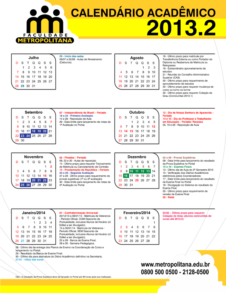 Calendário Acadêmico 2013-2