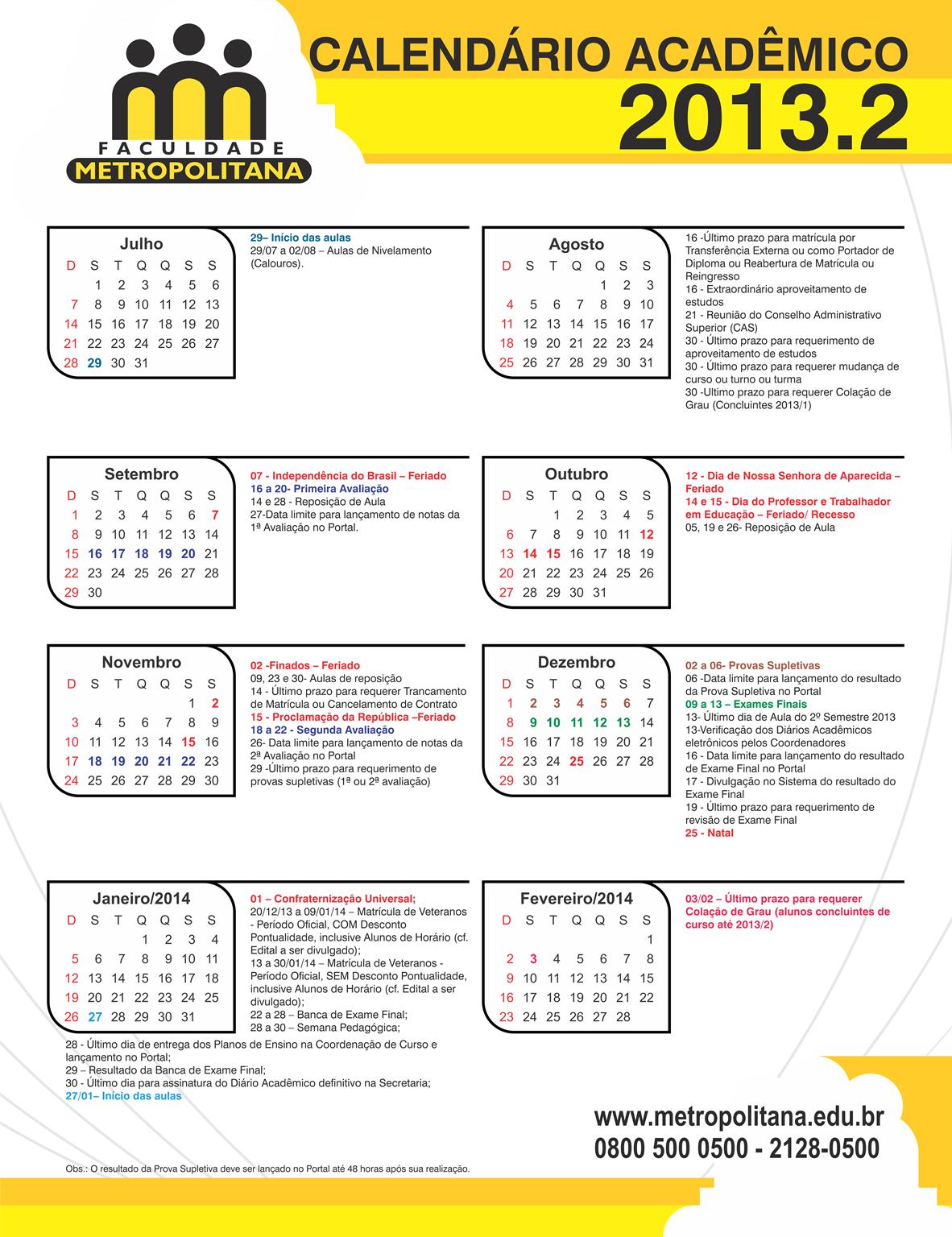 Calendário Acadêmico 2013.2